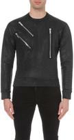 DSQUARED2 Zip detail cotton-leatherette sweatshirt