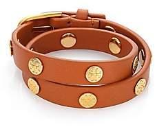 Tory Burch Women's Double-Wrap 16K Yellow Goldplated Logo Stud Bracelet
