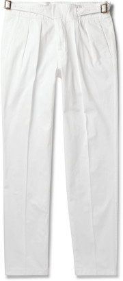 Rubinacci - Manny Tapered Pleated Cotton-Twill Trousers - Men - White