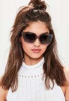 Missguided Grey Gradient Square Sunglasses, Black