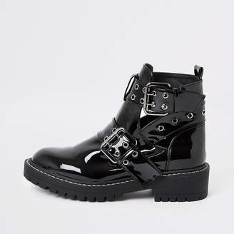 River Island Black patent cut away wide fit chunky boots