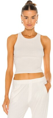 Enza Costa Viscose Rib Cropped Bold Sheath Tank