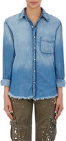 NSF Women's Distressed Chambray Axel Shirt-BLUE