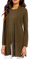 Eileen Fisher Shawl Collar Long Sleeve Open Front Simple Cardigan