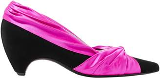 Stella McCartney Two-tone Knotted Satin And Faux Suede Pumps
