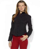 Lauren Ralph Lauren Jacket, Velvet-Trim Mock-Neck Denim, Black Wash