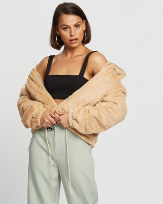Missguided Women's Brown Jackets - Cropped Faux Fur Bomber Jacket - Size 12 at The Iconic