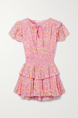 LoveShackFancy Audette Pintucked Floral-print Cotton-voile Mini Dress - Pink