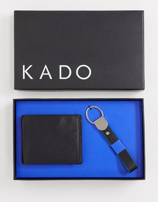 KADO colour pop leather wallet and keychain set