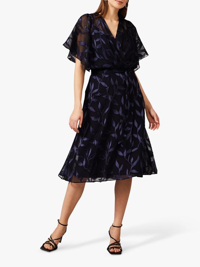Phase Eight Madden Burnout Floral Midi Dress, Navy/Cobalt