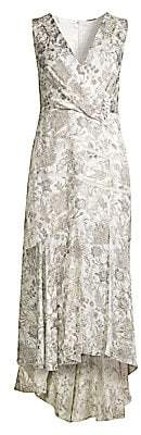 Elie Tahari Women's Brittney Floral Lace Eyelet Midi Wrap Dress - Size 0