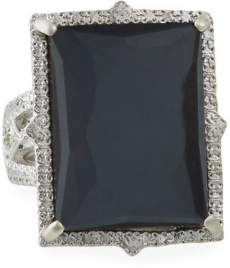 Armenta New World Rectangular Hematite Doublet Ring, Size 7