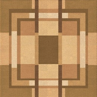 Holmes East Urban Home Geometric Wool Brown Area Rug East Urban Home Rug Size: Square 5'