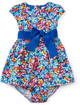 Ralph Lauren Cap-Sleeve Floral Fit-and-Flare Dress w/ Bloomers, Multicolor, Size 6-24 Months