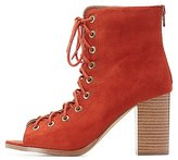 Charlotte Russe Peep Toe Lace-Up Booties