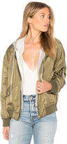Central Park West Los Feliz Bomber with Hoodie in Army. - size L (also in M,S,XS)