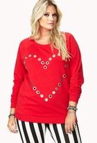 Forever 21 Lovely Grommet Heart Sweatshirt