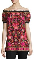 Naeem Khan Off-The-Shoulder Embroidered Peasant Top, Black/Red