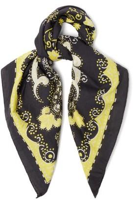Acne Studios Floral-print Cotton-blend Scarf - Black Yellow