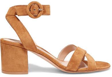 Gianvito Rossi 45 Suede Sandals - Tan