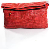 Pietro Alessandro Red Coated Woven Straw Large Flap Clutch Handbag