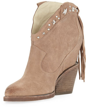 Ash Loco Fringe Wedge Ankle Boot, Taupe