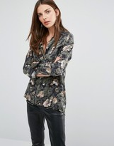 French Connection Adeline Dream Drape Floral Print Camo Shirt