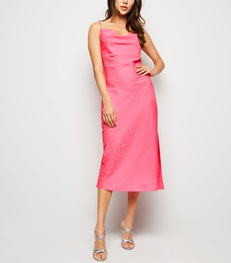 New Look Bright Satin Tiger Jacquard Midi Dress