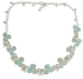 Novica Pearl and Chalcedony Beaded Necklace, 'Aqua Enchantment'