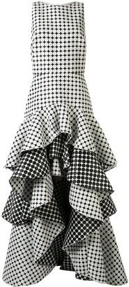 Tadashi Shoji Sleeveless Tiered Jacquard Dots Gown