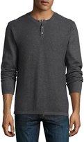 Vince Jersey Mix-Stitch Henley Shirt, Heather Carbon