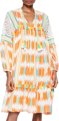 Alice + Olivia Rosanne Embroidered Tunic Dress with Tassels