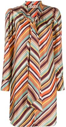 Marni Striped Front-Tie Dress
