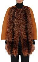 Barneys New York Women's Fur-Front Wool-Cashmere Coat-ORANGE
