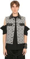 Kokon To Zai Cotton Jacquard & Leather Multi Zip Vest