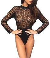 Multitrust Sexy Women Lace perspective Bodysuit Jumpsuit Summer Playsuit Tops (US 8/L, )