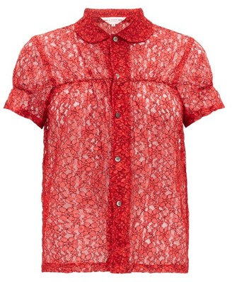 COMME DES GARÇONS GIRL Short-sleeved Floral-lace Shirt - Red