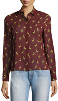 Alice + Olivia Willa Bird-Print Silk Shirt, Multicolor