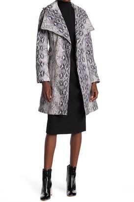 BCBGeneration Wing Collar Snake Skin Print Belted Wrap Coat