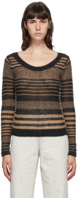 Acne Studios Black and Brown Striped Scoop Neck Crewneck Sweater