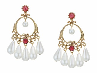 Kenneth Jay Lane Antique Gold Post Earrings with Ruby Stones and Pearl Drops Antique Gold/Ruby/Pearl One Size