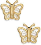 Macy's Cubic Zirconia Butterfly Stud Earrings in 10k Gold