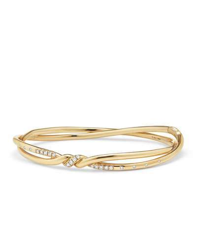 David Yurman Continuance 18K Gold Twist Bracelet with Diamonds, Size L