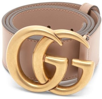 Gucci GG-logo Leather Belt - Pink