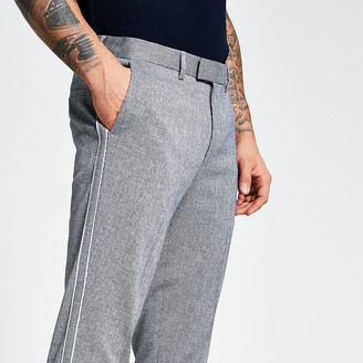 River Island Blue textured piping side skinny trousers