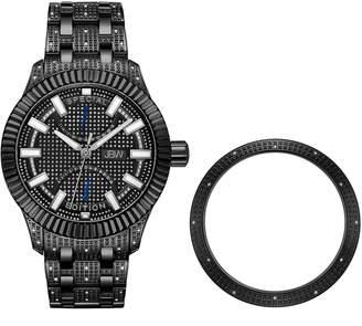 JBW Men's Crowne Diamond Accent & Crystal Stainless Steel Watch & Interchangeable Bezel Set