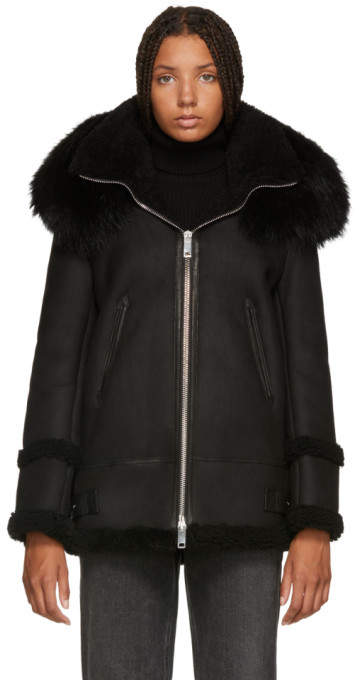 Mr & Mrs Italy Black Shearling Long Fur Jacket