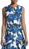 Milly Sleeveless Split-Neck Floral-Print Crop Top