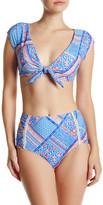 Betsey Johnson Floral Paisley Self-Tie Bikini Crop Top
