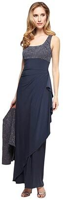 Alex Evenings Two-Piece Long Dress with Jacquard Bolero Jacket (Smoke) Women's Dress